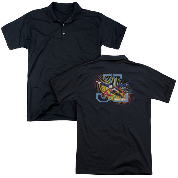 JLA/Heroes United (Back Print) Mens Regular Fit Polo in Black