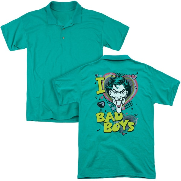 DC/I Heart Bad Boys 2 (Back Print) Mens Regular Fit Polo in Kelly Green