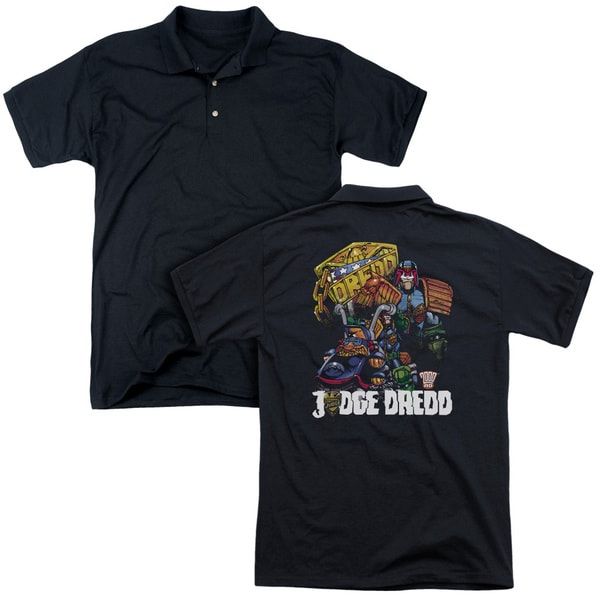 Judge Dredd/Bike and Badge (Back Print) Mens Regular Fit Polo in Black