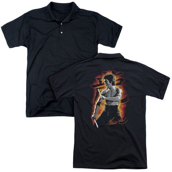 Bruce Lee/Dragon Fire (Back Print) Mens Regular Fit Polo in Black