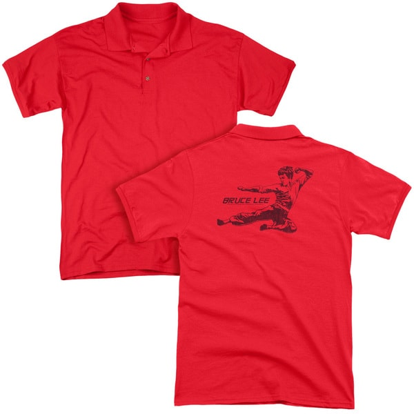 Bruce Lee/Line Kick (Back Print) Mens Regular Fit Polo in Red