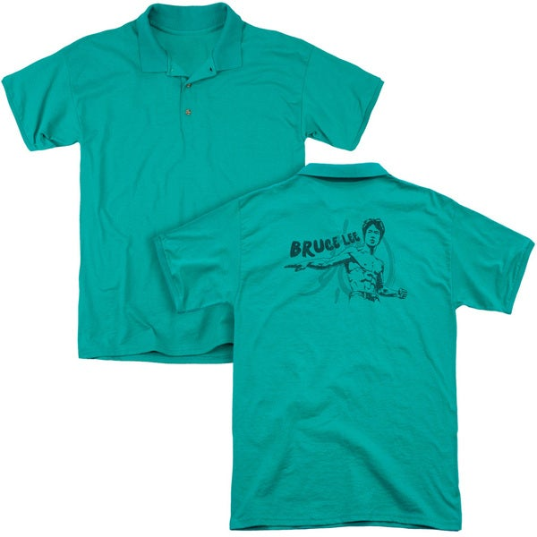 Bruce Lee/Brush Lee (Back Print) Mens Regular Fit Polo in Kelly Green