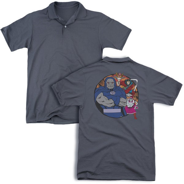 DC/Apokolips Represent (Back Print) Mens Regular Fit Polo in Charcoal