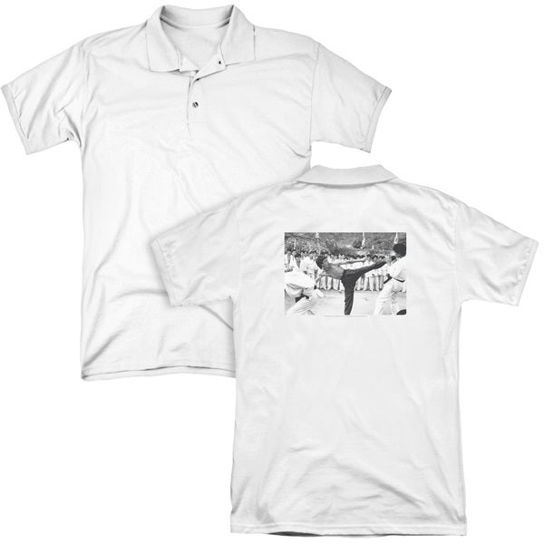 Bruce Lee/Kick To The Head (Back Print) Mens Regular Fit Polo in White