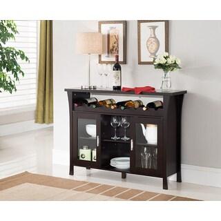 K and B Furniture Co Inc WR1346 Espresso Wood/Veneer/Glass Wine Rack