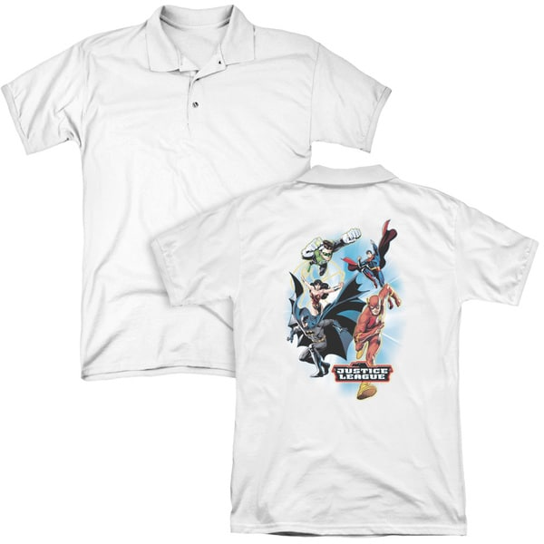 JLA/At Your Service (Back Print) Mens Regular Fit Polo in White