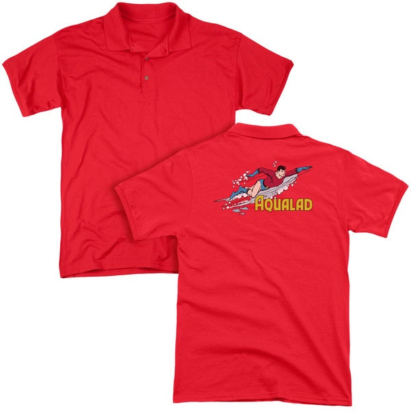 DC/Aqualad (Back Print) Mens Regular Fit Polo in Red
