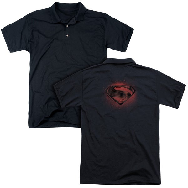 Man Of Steel/Super Spray (Back Print) Mens Regular Fit Polo in Black