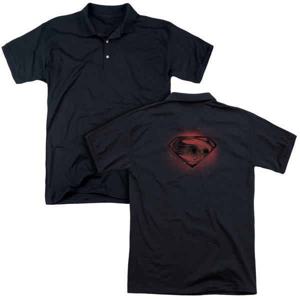 Man Of Steel/Super Spray (Back Print) Mens Regular Fit Polo in Black