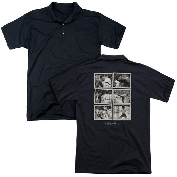 Bruce Lee/Snap Shots (Back Print) Mens Regular Fit Polo in Black