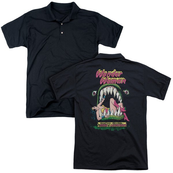 DC/Jaws (Back Print) Mens Regular Fit Polo in Black