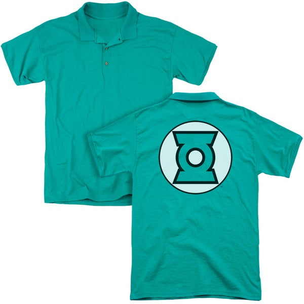 JLA/Green Lantern Logo (Back Print) Mens Regular Fit Polo in Kelly Green