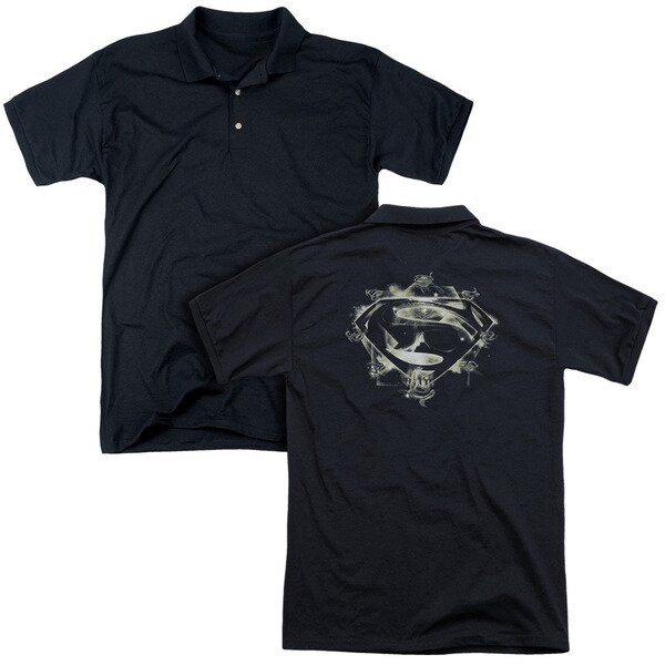 Man Of Steel/Skulls and Symbols (Back Print) Mens Regular Fit Polo in Black
