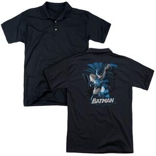JLA/Batman Blue & Gray (Back Print) Mens Regular Fit Polo in Black