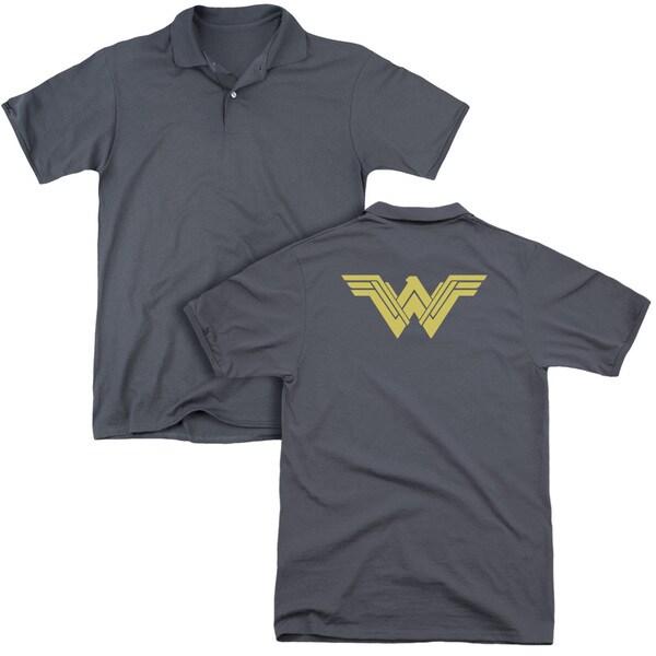 Batman V Superman/Clean Line Logo (Back Print) Mens Regular Fit Polo in Charcoal