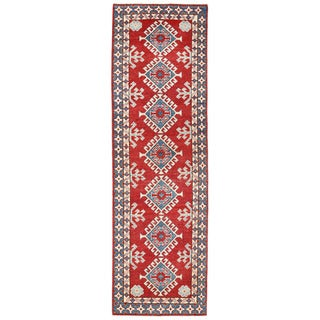 Herat Oriental Afghan Hand-knotted Kazak Red/ Ivory Wool Runner (2' x 7')