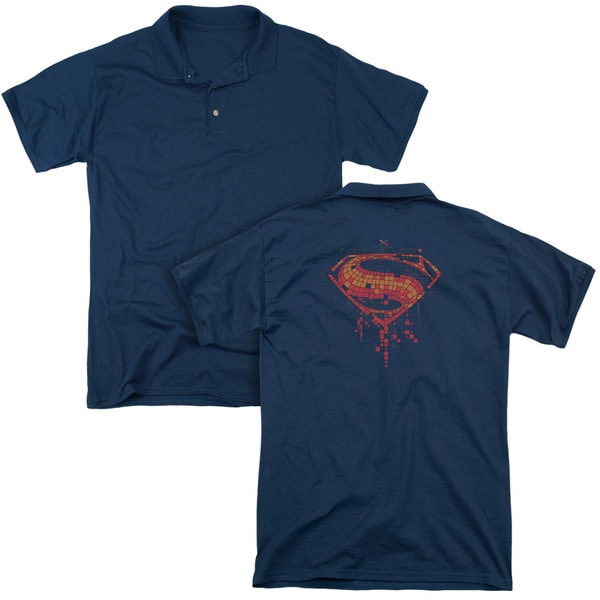 Batman V Superman/Tech Super Logo (Back Print) Mens Regular Fit Polo in Navy