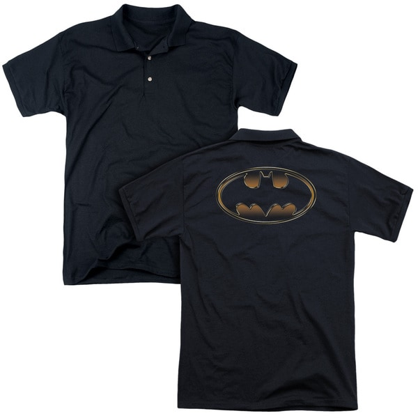 Batman/Black & Gold Embossed (Back Print) Mens Regular Fit Polo in Black