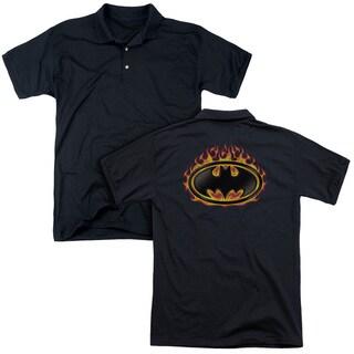 Batman/Bat Flames Shield (Back Print) Mens Regular Fit Polo in Black