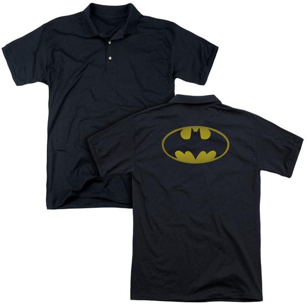 Batman/Washed Bat Logo (Back Print) Mens Regular Fit Polo in Black