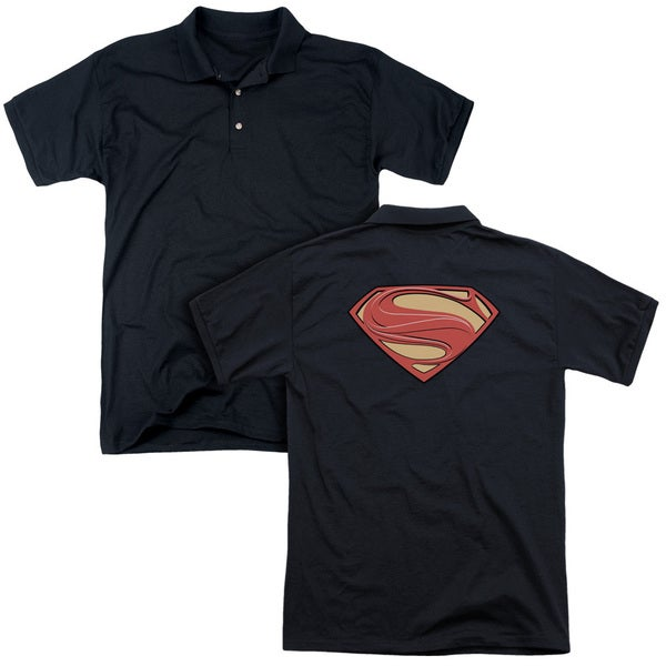 Man Of Steel/New Solid Shield (Back Print) Mens Regular Fit Polo in Black