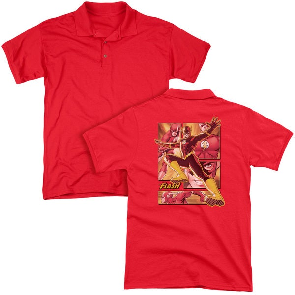 JLA/Flash (Back Print) Mens Regular Fit Polo in Red