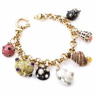 14k Yellow Gold Multi-gemstone Shell Charm Bracelet