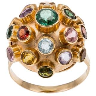 18k Yellow Gold Multicolor Gemstone Estate Ring