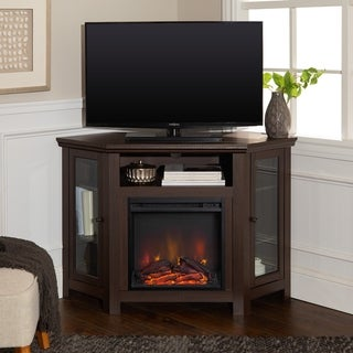 48-inch Espresso Corner Two Door Fireplace TV Stand Console