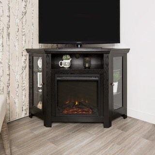 48-inch Black Corner Two Door Fireplace TV Stand Console