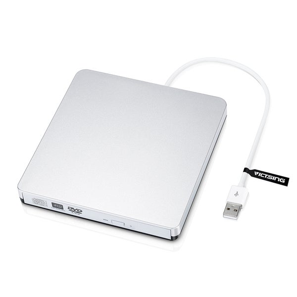 Portable External Slot CD/DVD-RW Burner Writer Silver Drive with USB 2.0 Cable for Macbook Pro, Macbook Air and Others