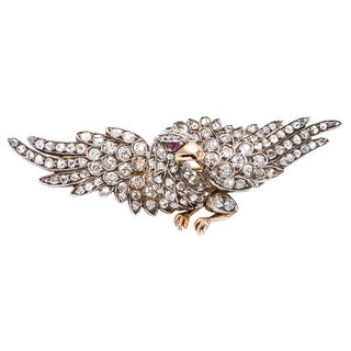 Silver and Gold 4 1/2ct TDW Antique Diamond Eagle Brooch (I-J, SI1-SI2)