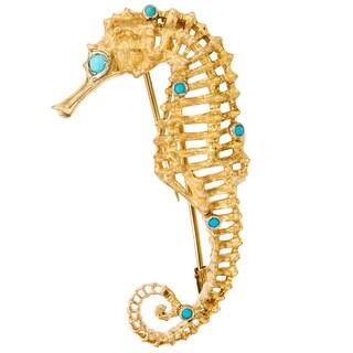 18k Yellow Gold Turquoise Seahorse Estate Pin