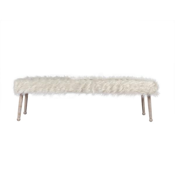 Joseph Allen Luxe White Faux Sheepskin Bench