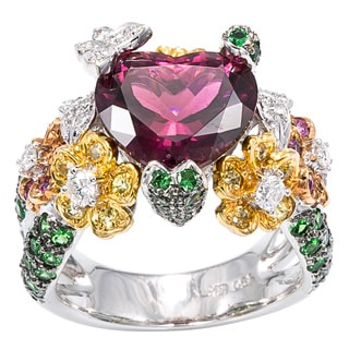 18k White Gold 1/3ct TDW Tourmaline Heart and Flowers Cocktail Ring (G-H, SI1-SI2)