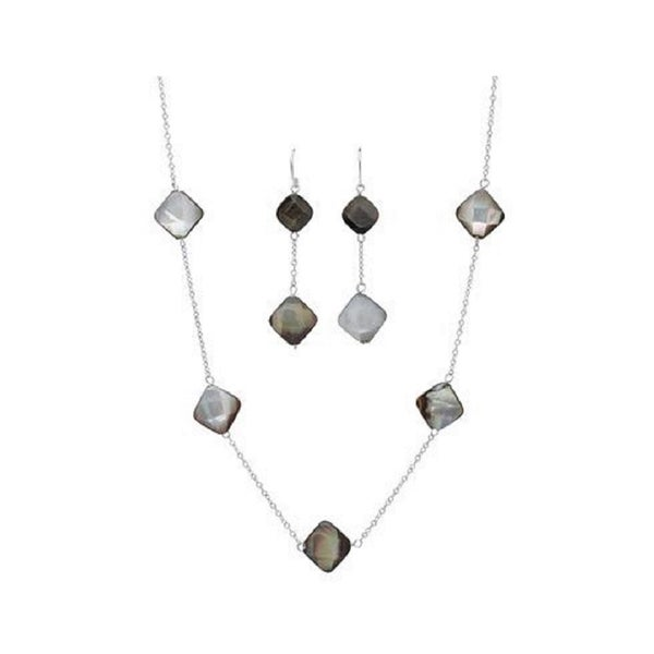 White Sterling Silver Mother of Pearl Necklace and Earrings 19159330