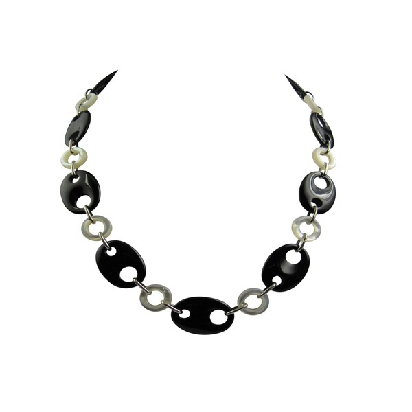 Pearl Lustre Black Onyx and White Mother of Pearl Necklace
