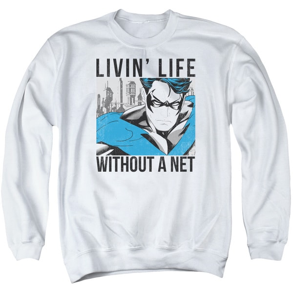 Batman/Without A Net Adult Crew Sweat in White