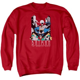 Batman The Animated Series/Batman and Robin Adult Crew Sweat in Red