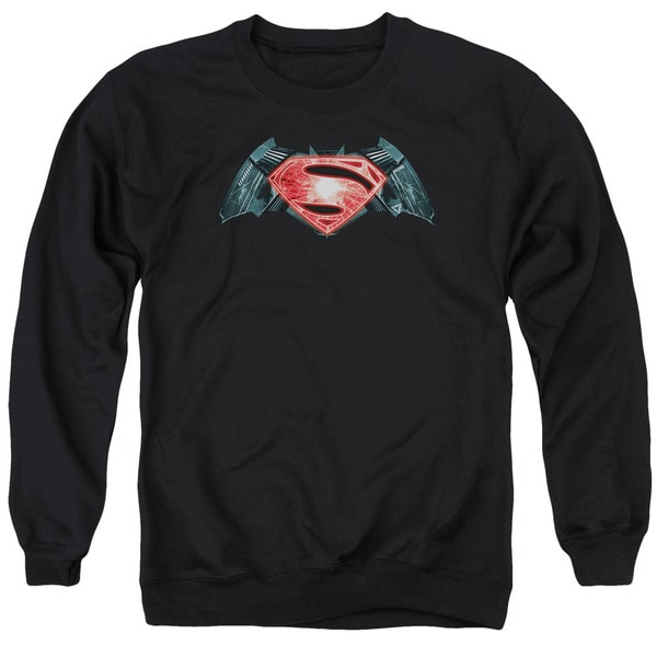 Batman V Superman/Industrial Logo Adult Crew Sweat in Black