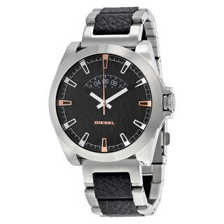 Diesel DZ1721 Arges Black/Silvertone Leather/Stainless Steel/Mineral Men's Watch