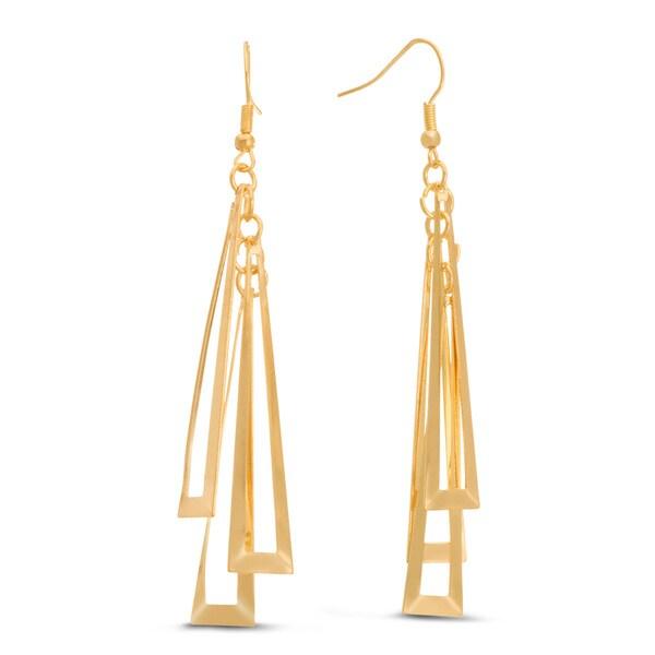 Geometric Gold Dangle 3-inch Earrings
