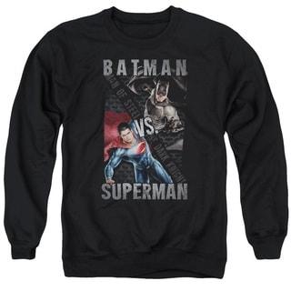 Batman Vs Superman/Hero Split Adult Crew Sweat in Black
