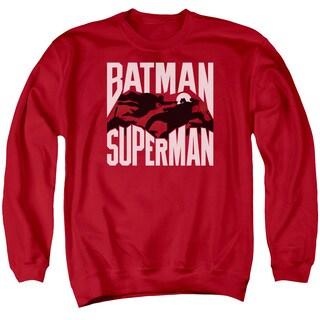 Batman Vs Superman/Silhouette Fight Adult Crew Sweat in Red