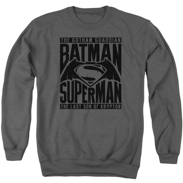 Batman V Superman/Title Fight Adult Crew Sweat in Charcoal