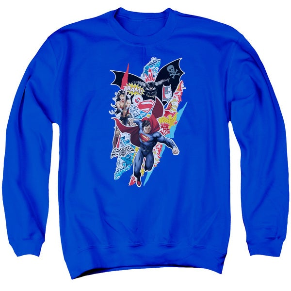 Batman V Superman/Ripped Trio Adult Crew Sweat in Royal