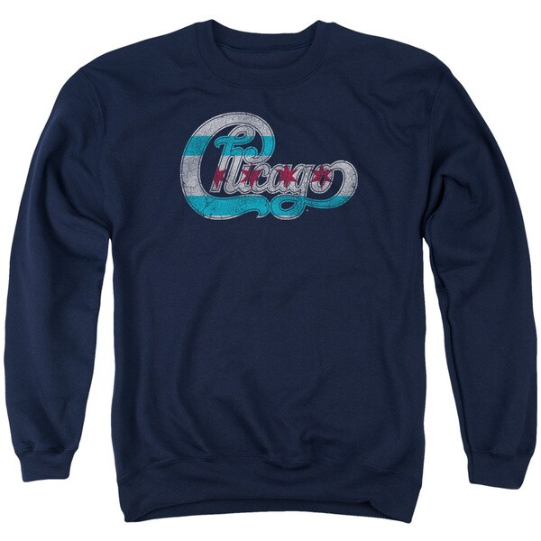 Chicago/Flag Logo Adult Crew Sweat in Navy