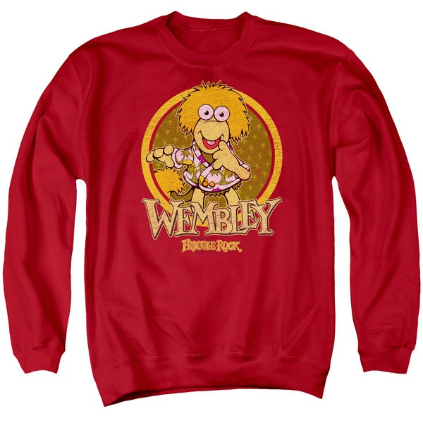 Fraggle Rock/Wembley Circle Adult Crew Sweat in Red