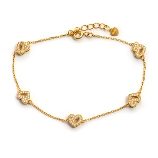Pori 18-carat Gold Plate Over Silver or Sterling Silver Cubic Zirconia Hearts Bracelet with Extension