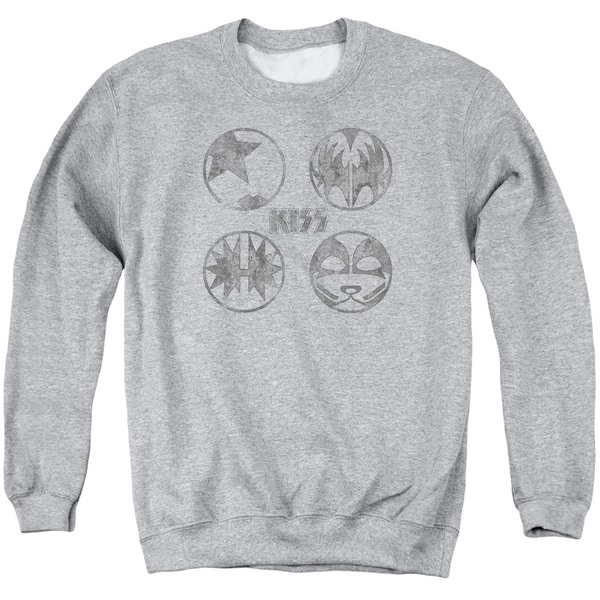 Kiss/Paint Circles Adult Crew Sweat in Athletic Heather